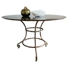 19th Century Large French Wrought Iron Table with Glass Top