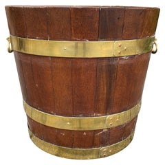 19th Century Large Georgian Style Brass Bound Peat Bucket with Liner