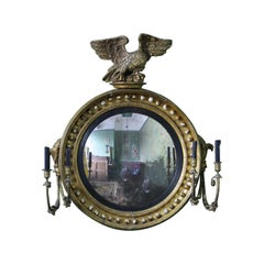19th Century Large Girandole Convex Giltwood Mirror Oxidised Foxed Plate
