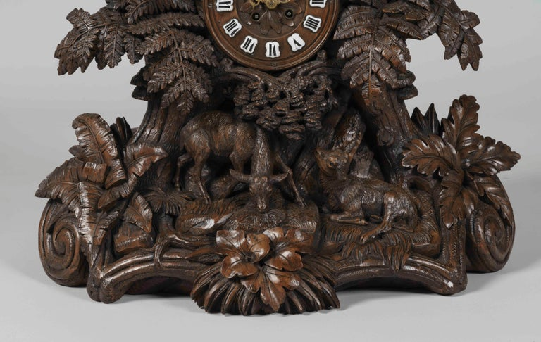 Swiss 19th Century Large Hand-Carved Black Forest Mantel Clock