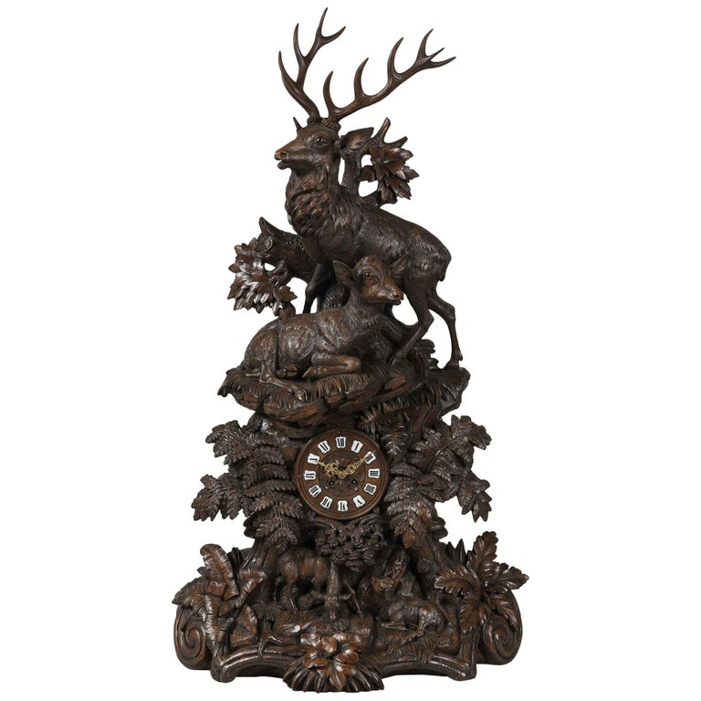 19th Century Large Hand-Carved Black Forest Mantel Clock