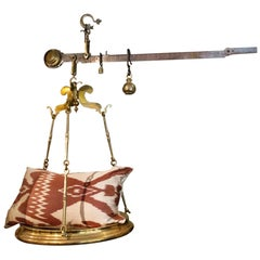 19th Century Large Italian Brass Butcher's Scale