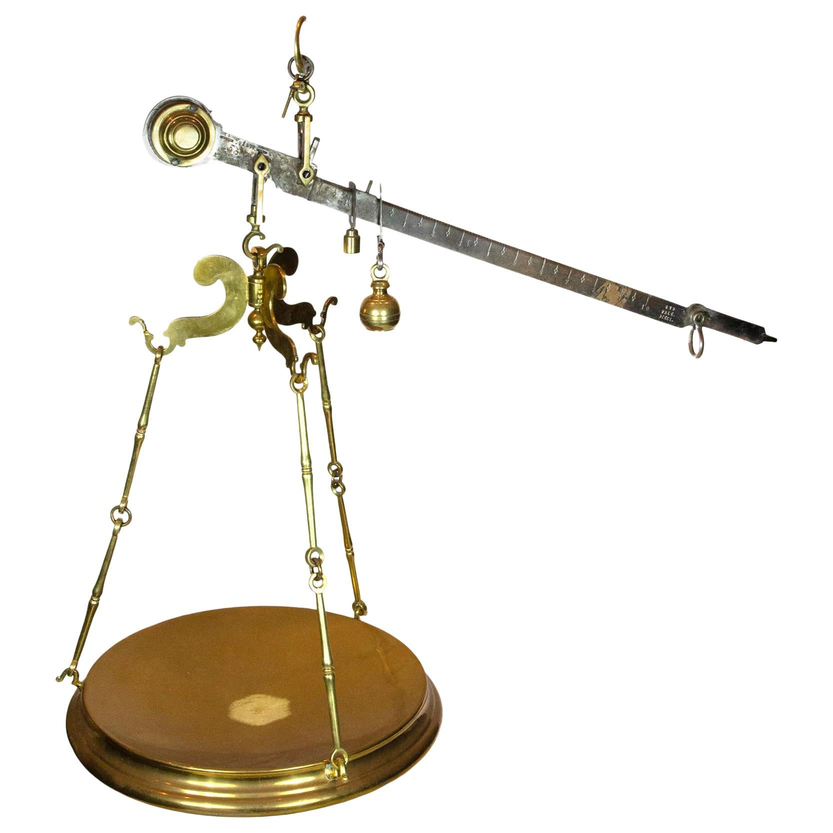 19th Century Large Italian Brass Butcher's Scale