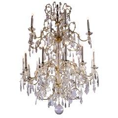 19th Century Large Italian Crystal Chandelier Louis XVI Style Eighteen Light