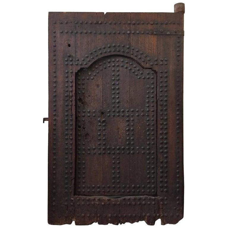 19th Century Large Moroccan Ryad Studded Moorish Antique Door For Sale