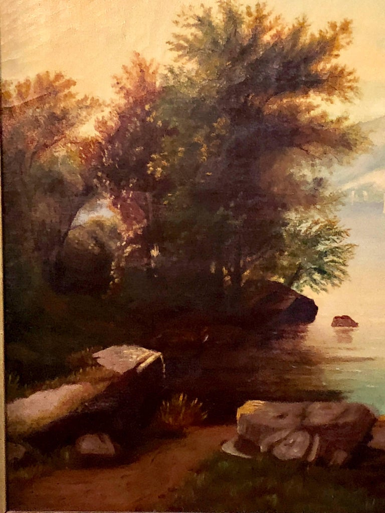 19th Century Large Oil on Canvas Boy in Canoe on the Water In Good Condition For Sale In Stamford, CT