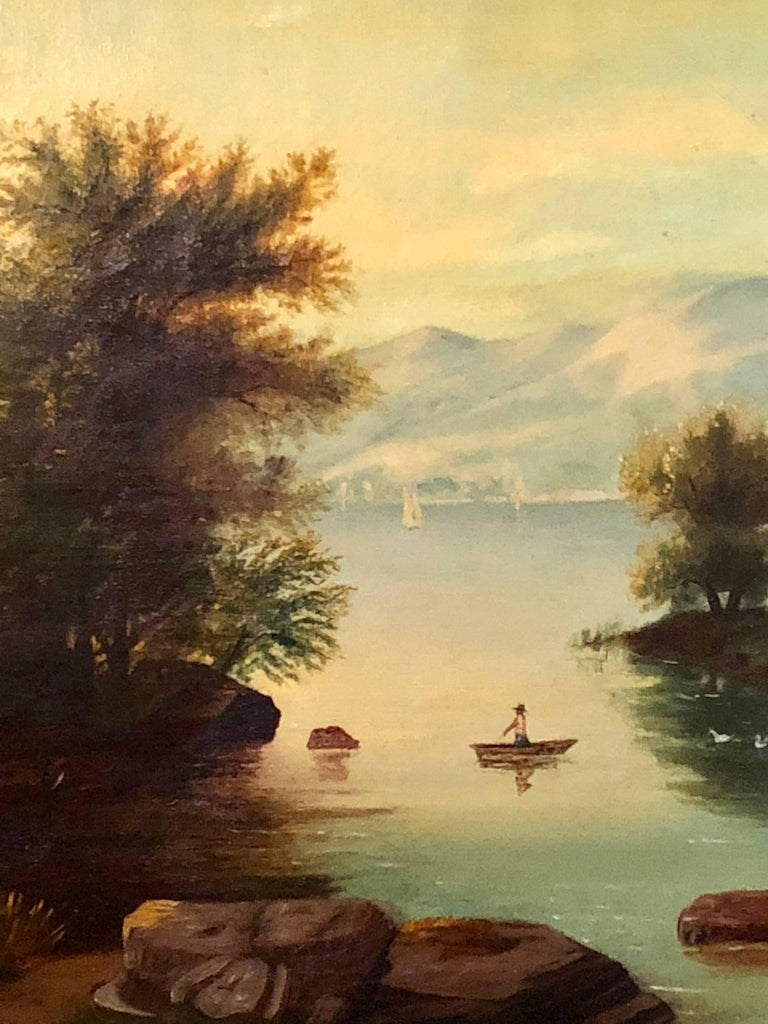 20th Century 19th Century Large Oil on Canvas Boy in Canoe on the Water For Sale