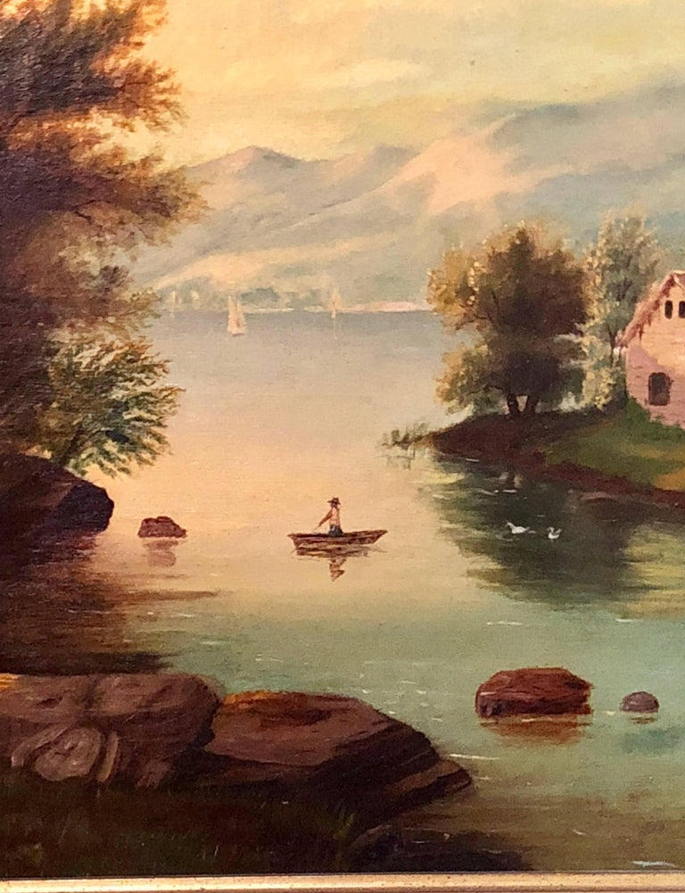 19th Century Large Oil on Canvas Boy in Canoe on the Water For Sale 3