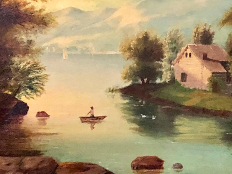 19th Century Large Oil on Canvas Boy in Canoe on the Water For Sale 4