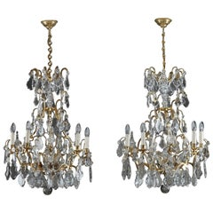 19th Century Large Pair of 9-Light Crystal Chandeliers