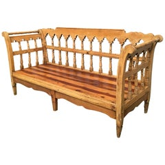 19th Century Large Pine Country Bench or Daybed