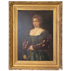 19th Century Large Portrait Painting of a Duchess in Proper Attire