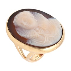 19th Century Large Queen Elizabeth I Cameo Agate Ring