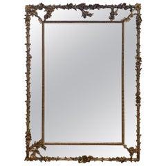 19th Century Large Rectangular French Napoleon III Giltwood Mirror