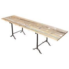 19th Century Large Rectangular Trestle Base Dining Table, Reclaimed Pitch Pine