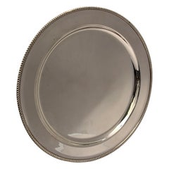 19th Century Large Rimmed Round Silver Plate/Salver