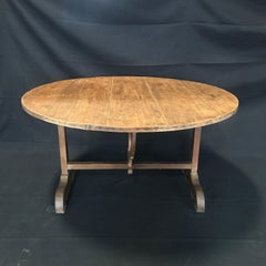 19th Century Large Round Antique French Wine Tasting and Dining Table