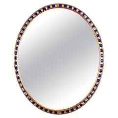 19th Century Large Scale Oval Blue and Clear Border Glass Mirror