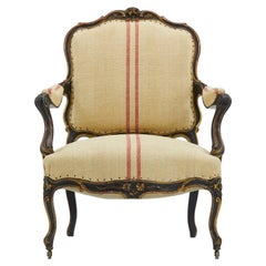 19th Century Large Scale French Ebonized Armchair