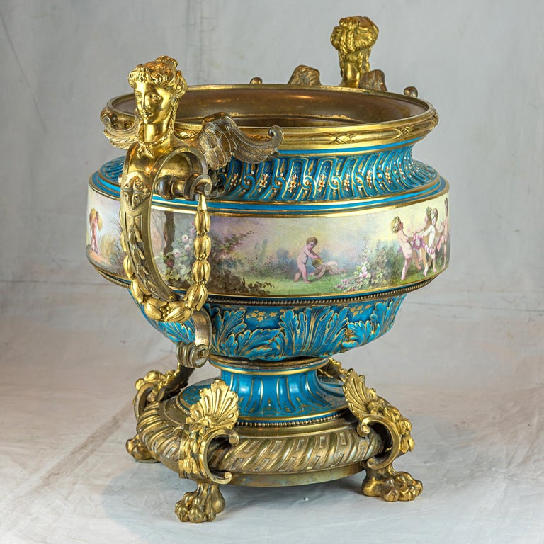 French 19th Century Large Sevres-Style and Gilt Bronze Centerpiece For Sale