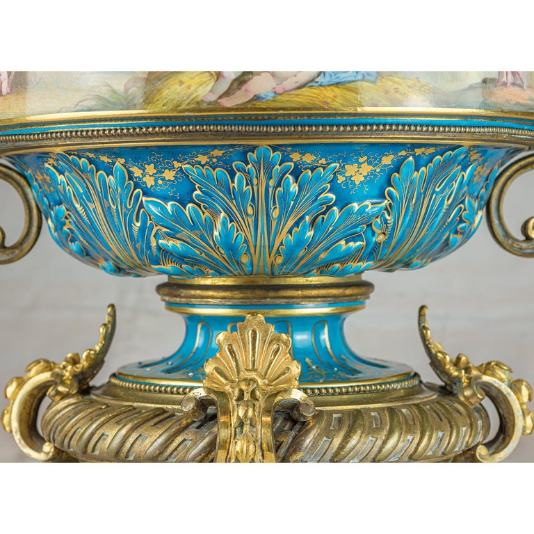 19th Century Large Sevres-Style and Gilt Bronze Centerpiece In Good Condition For Sale In New York, NY