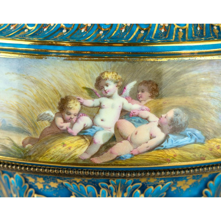 19th Century Large Sevres-Style and Gilt Bronze Centerpiece For Sale 2