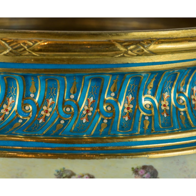 19th Century Large Sevres-Style and Gilt Bronze Centerpiece For Sale 3