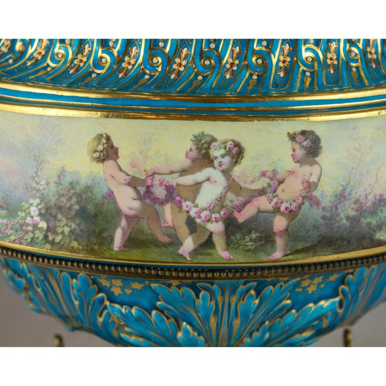 19th Century Large Sevres-Style and Gilt Bronze Centerpiece For Sale 4