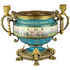 19th Century Large Sevres-Style and Gilt Bronze Centerpiece