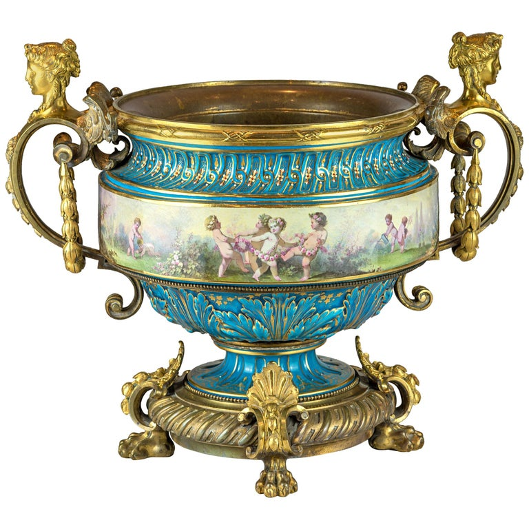 19th Century Large Sevres-Style and Gilt Bronze Centerpiece For Sale