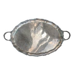 19th Century Large Sheffield Silver Plate Serving Tray with Crest