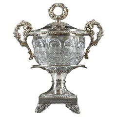 19th Century Large Silver and Cut-Crystal Confiturier, with 12 Spoons