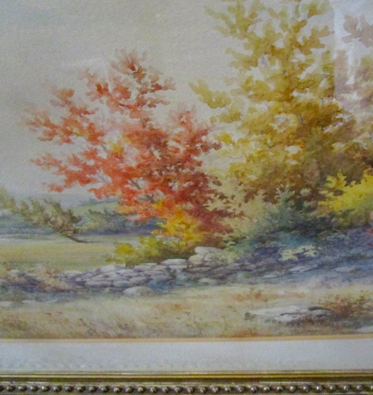 19th Century Large Size Framed Watercolor by American Painter Francis Wheaton For Sale 3