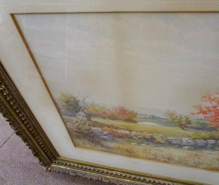 19th Century Large Size Framed Watercolor by American Painter Francis Wheaton For Sale 4
