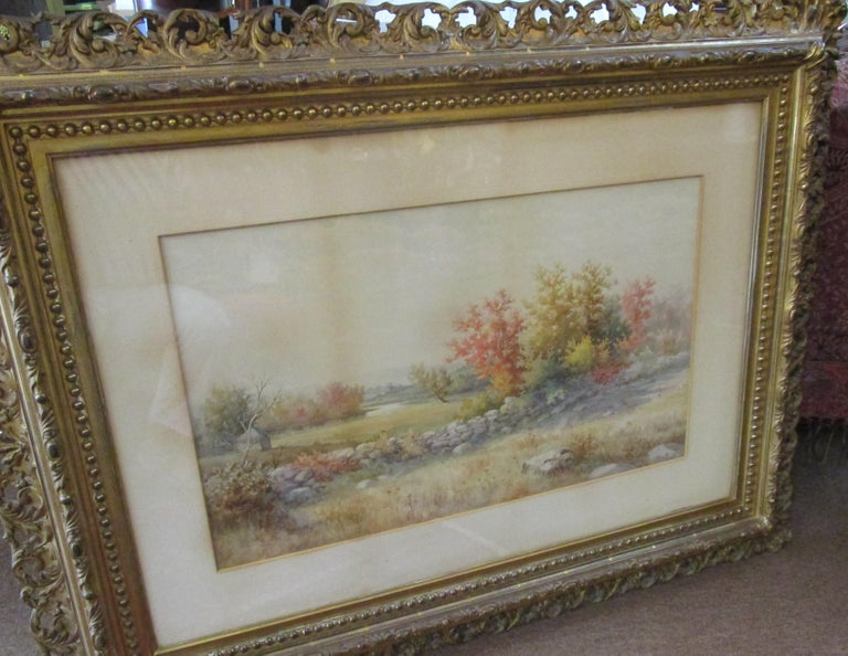 19th Century Large Size Framed Watercolor by American Painter Francis Wheaton For Sale 5