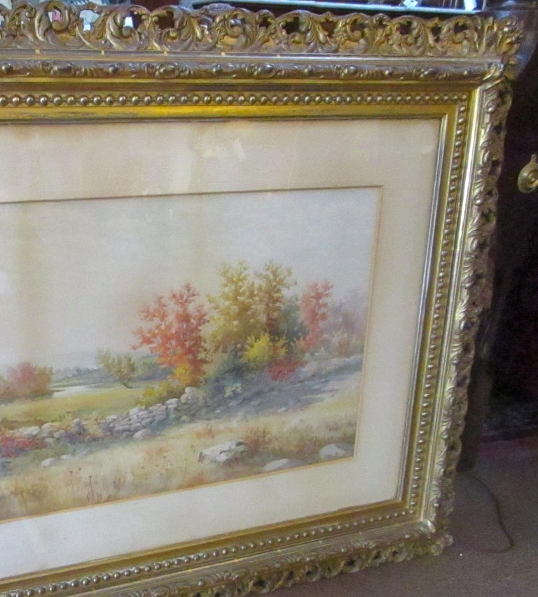 19th Century Large Size Framed Watercolor by American Painter Francis Wheaton For Sale 6
