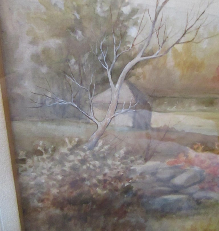 19th Century Large Size Framed Watercolor by American Painter Francis Wheaton For Sale 7