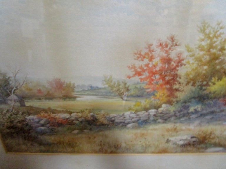 19th Century Large Size Framed Watercolor by American Painter Francis Wheaton For Sale 8
