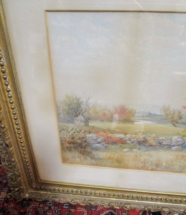 19th Century Large Size Framed Watercolor by American Painter Francis Wheaton For Sale 9