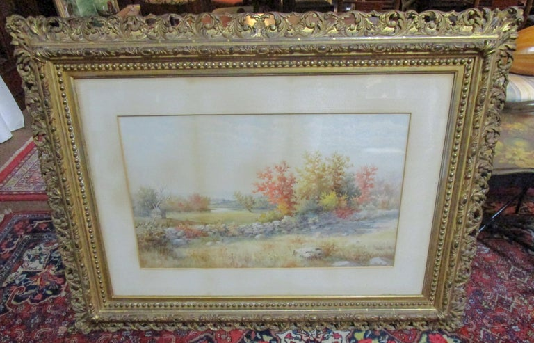 Carved 19th Century Large Size Framed Watercolor by American Painter Francis Wheaton For Sale