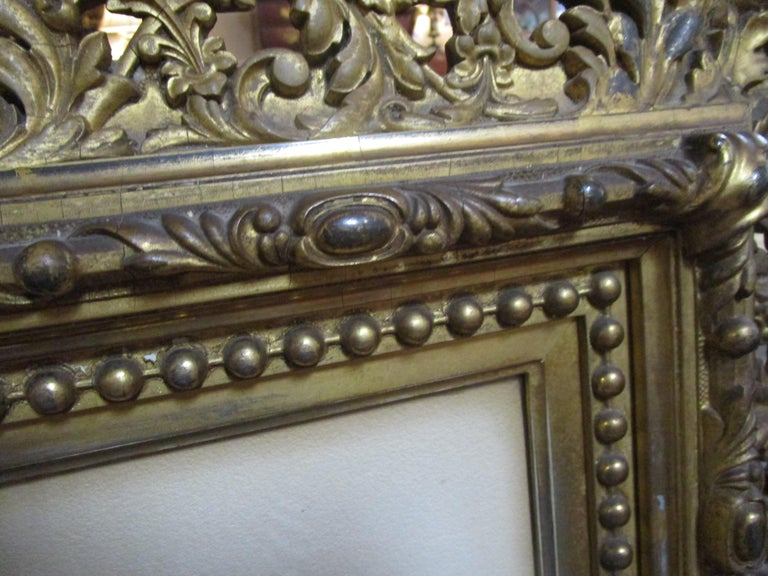 Giltwood 19th Century Large Size Framed Watercolor by American Painter Francis Wheaton For Sale