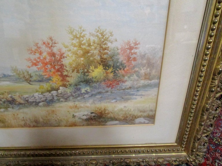 19th Century Large Size Framed Watercolor by American Painter Francis Wheaton For Sale 1