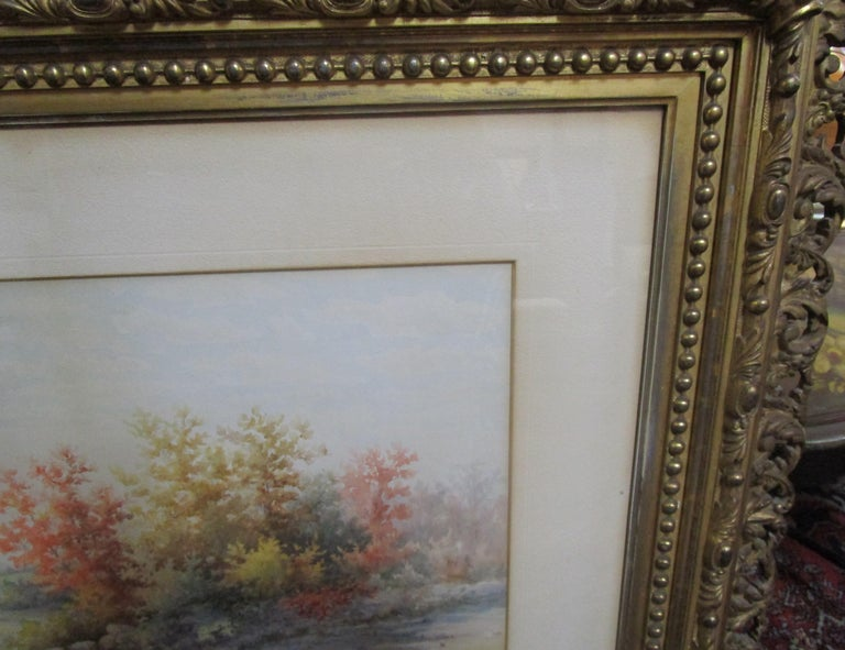 19th Century Large Size Framed Watercolor by American Painter Francis Wheaton For Sale 2
