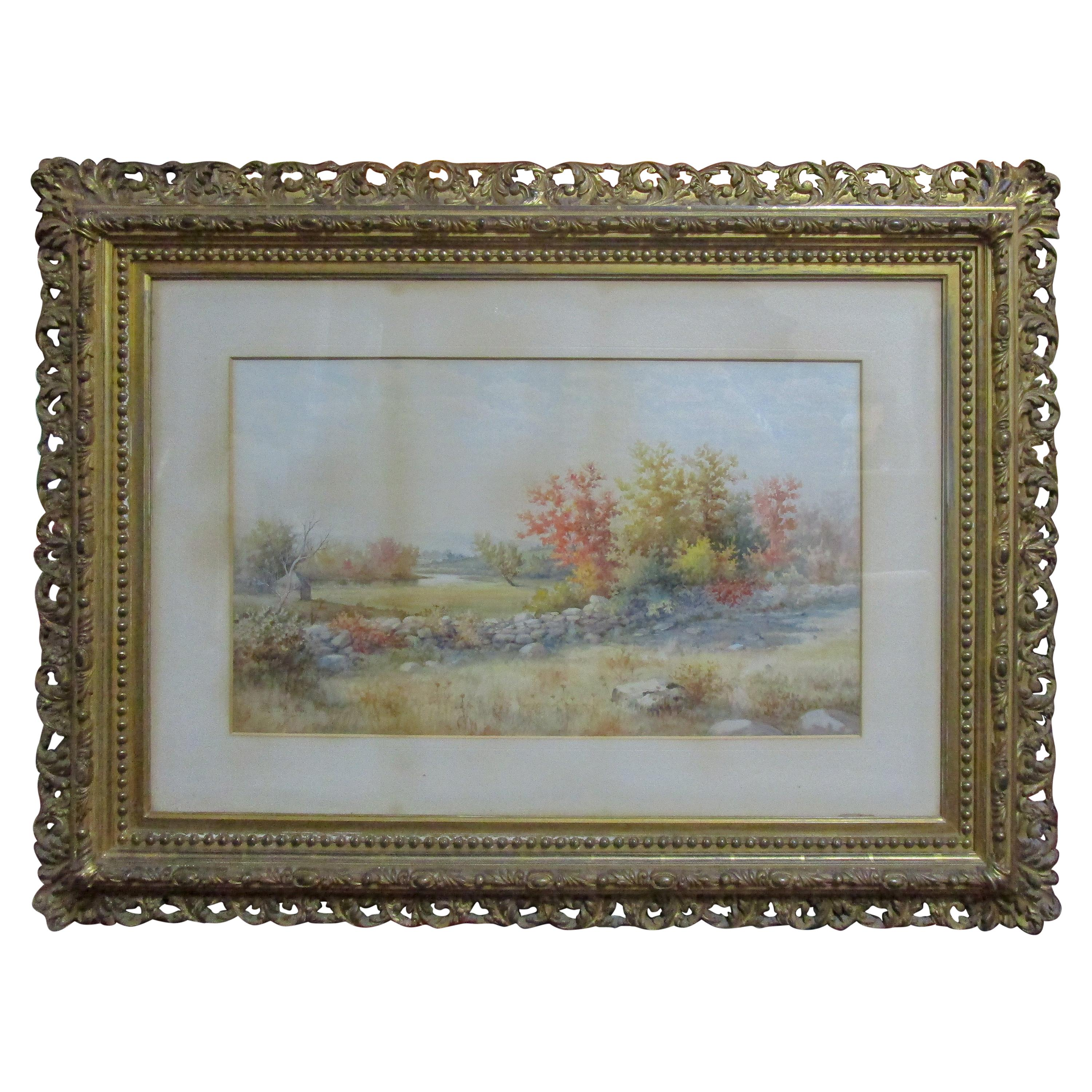 19th Century Large Size Framed Watercolor by American Painter Francis Wheaton