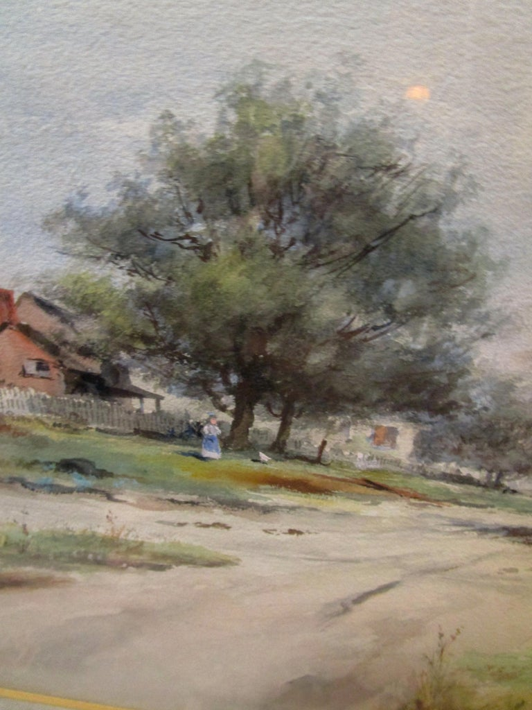 19th Century Large Size Framed Watercolor by American Painter Frank F. English For Sale 5
