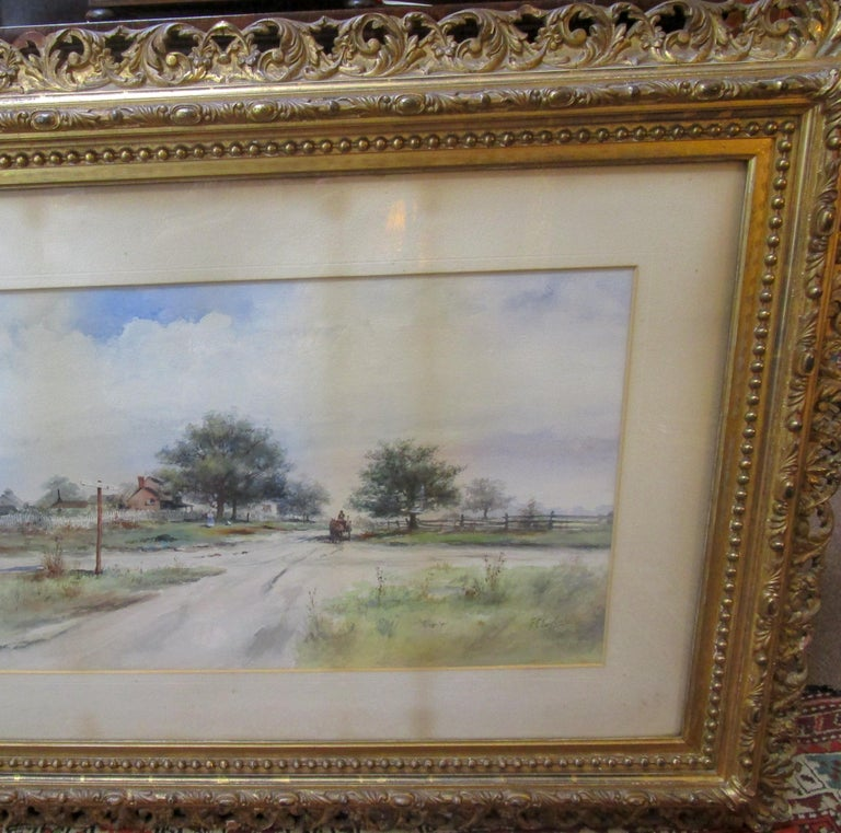 Barbizon School 19th Century Large Size Framed Watercolor by American Painter Frank F. English For Sale