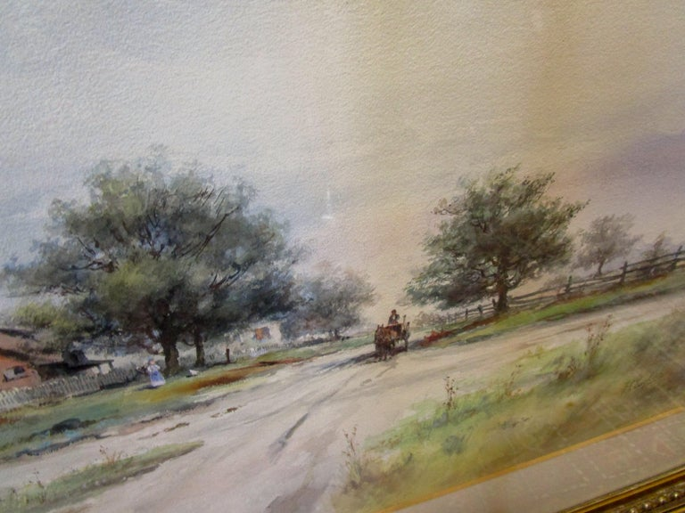 Painted 19th Century Large Size Framed Watercolor by American Painter Frank F. English For Sale