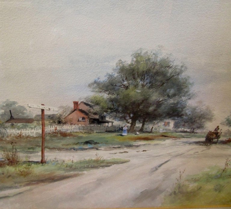 19th Century Large Size Framed Watercolor by American Painter Frank F. English In Good Condition For Sale In Savannah, GA