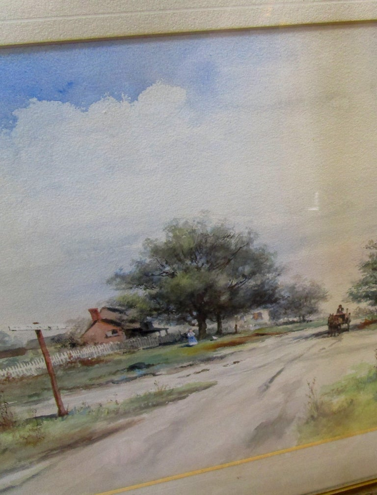 Glass 19th Century Large Size Framed Watercolor by American Painter Frank F. English For Sale