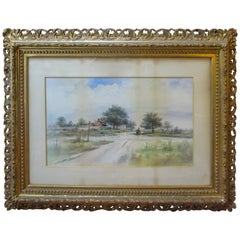 19th Century Large Size Framed Watercolor by American Painter Frank F. English
